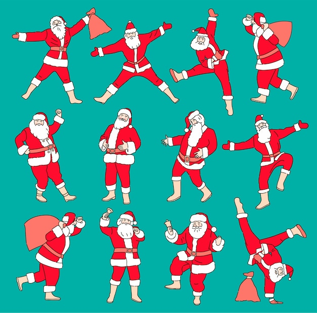 Conjunto de ilustrações de natal dos desenhos animados, isolado na cor de fundo. personagem engraçada do papai noel feliz com presente, bolsa com presentes, dançando.