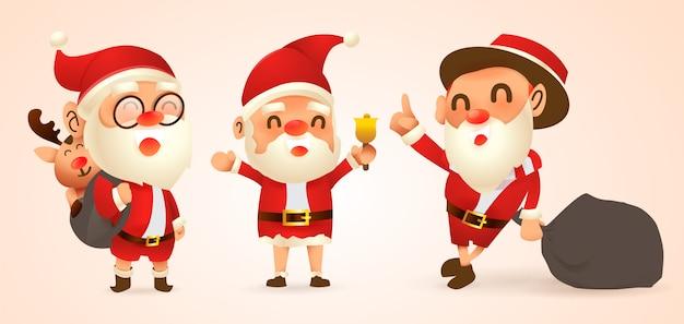 Conjunto de ilustrações de natal dos desenhos animados