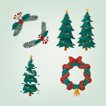 Conjunto de ilustrações de natal mão desenhada