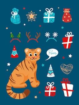 Conjunto de ilustrações de natal tigre símbolo do ano novo chinês 2022 presentes estrelas chapéu de festa