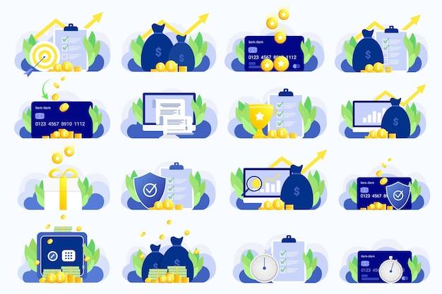 Conjunto de ilustrações de negócios. estilo moderno simples.