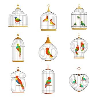 Conjunto de ilustrações de pássaros coloridos em gaiolas