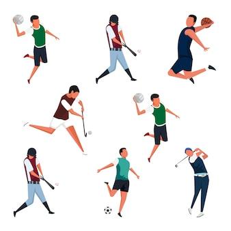 Conjunto de ilustrações de personagens de atividades esportivas