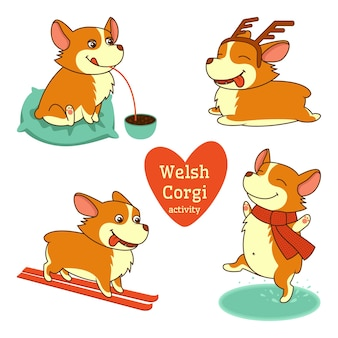 Conjunto de ilustrações de personagens welsh corgi em diferentes atividades em fundo branco