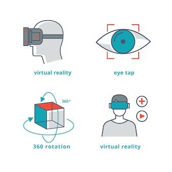 Conjunto de ilustrações de realidade virtual para jogos 3d e vídeo panorâmico 360º.