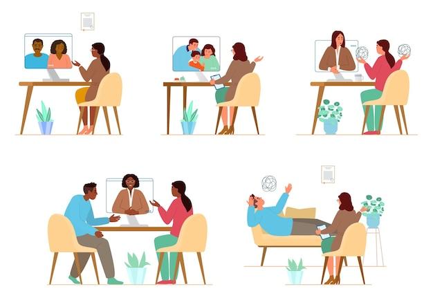 Conjunto de ilustrações de sessões de psicoterapia online e offline com psicólogo feminino. terapia de família e tratamento individual.