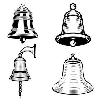 Conjunto de ilustrações de sino de navio em fundo branco. elemento para logotipo, etiqueta, emblema, sinal. imagem