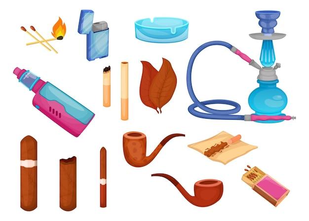 Conjunto de ilustrações de tabaco e charutos