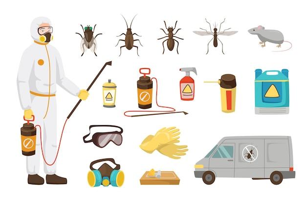 Conjunto de ilustrações de trabalhador de serviço de controle de pragas para crianças