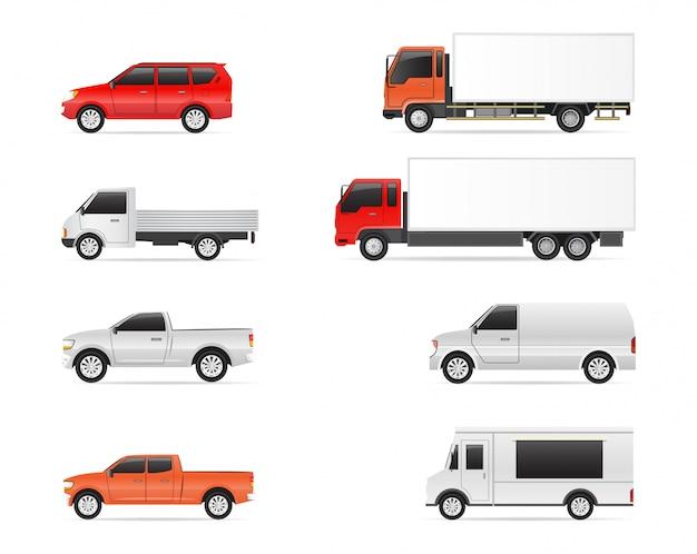 Conjunto de ilustrações de transporte comercial, carro, van e caminhões de entrega