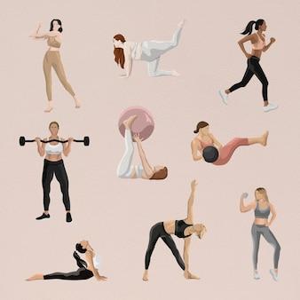 Conjunto de ilustrações de treino feminino de vetor de corpo e mente