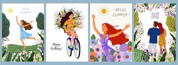 Conjunto de ilustrações de uma mulher, em uma bicicleta com flores, jovem casal em uma paisagem de natureza