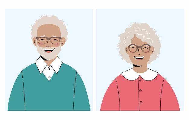 Conjunto de ilustrações de uma mulher idosa e um homem idoso com óculos ótimo para avatares