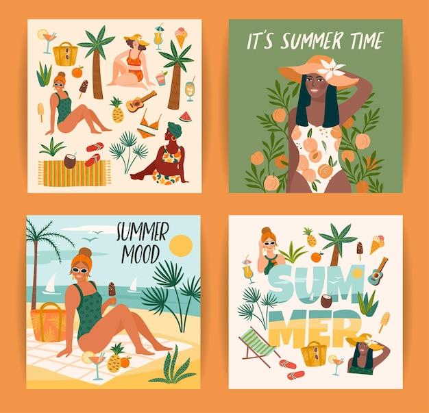 Conjunto de ilustrações de verão brilhante com mulheres bonitas. cartão