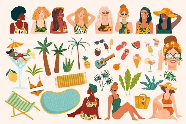 Conjunto de ilustrações de verão.