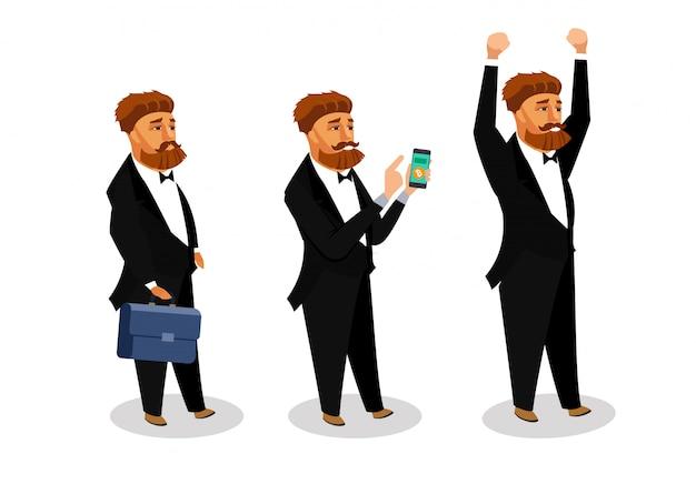 Conjunto de ilustrações de vetor de empresário bem sucedido.