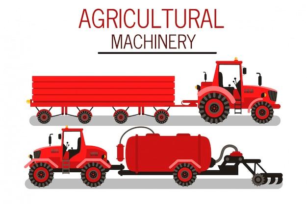 Conjunto de ilustrações de vetor de maquinaria agrícola