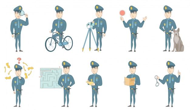 Conjunto de ilustrações de vetor jovem policial caucasiano