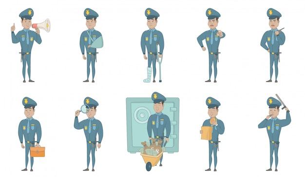 Conjunto de ilustrações de vetor jovem policial hispânico