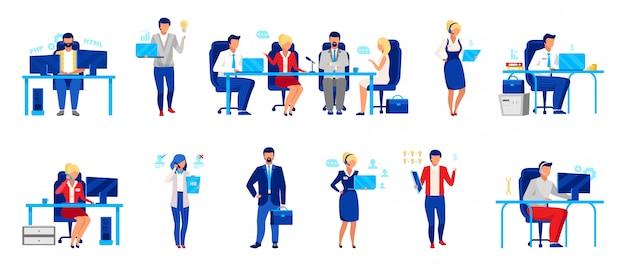 Conjunto de ilustrações de vetor plana de funcionários de empresa de negócios
