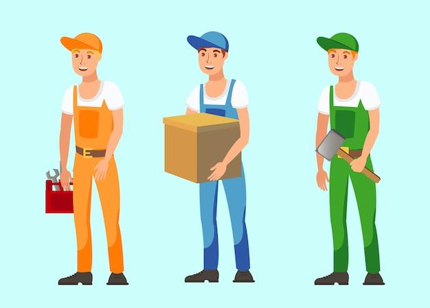 Conjunto de ilustrações de vetor plana de trabalhadores profissionais