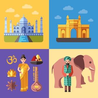 Conjunto de ilustrações de viagem da índia