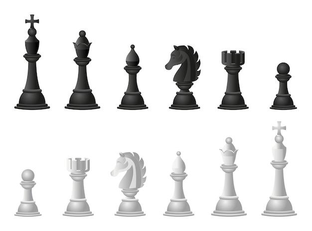 Conjunto de ilustrações de xadrez. desenho animado
