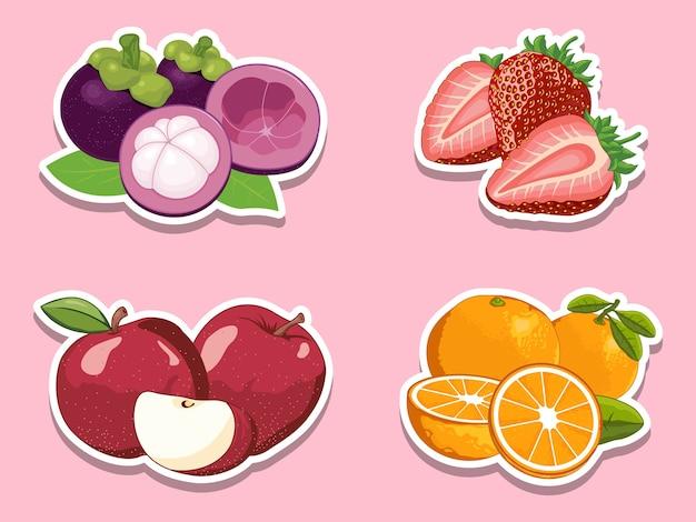 Conjunto de ilustrações desenhadas à mão com frutas
