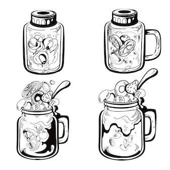 Conjunto de ilustrações desenhadas à mão de limonada caseira