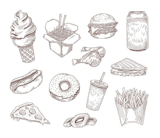 Conjunto de ilustrações desenhadas à mão de pratos americanos populares