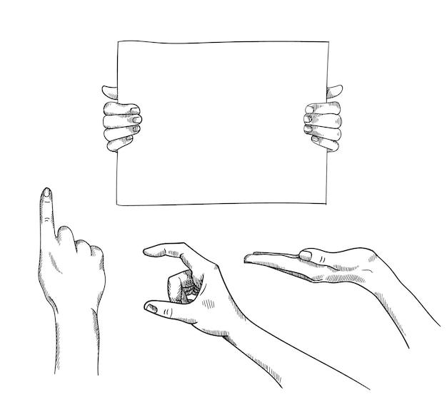 Conjunto de ilustrações desenhadas à mão segurando e apontando as mãos