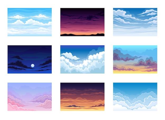 Conjunto de ilustrações do céu em diferentes horas do dia com nuvens