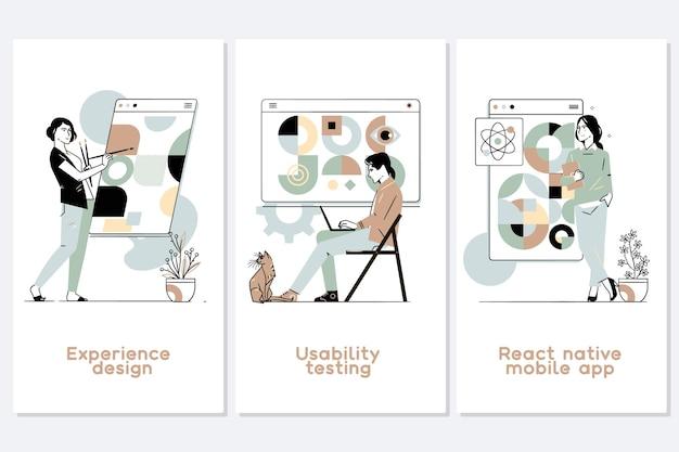 Conjunto de ilustrações do conceito abstrato de processo de desenvolvimento de aplicativo móvel