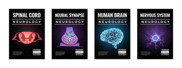 Conjunto de ilustrações do conceito de neurologia