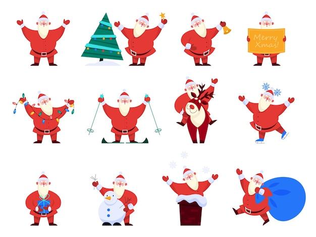 Conjunto de ilustrações do papai noel. cartoon style feliz papai noel segurando presentes, luzes. papai noel pela árvore de natal com veados.