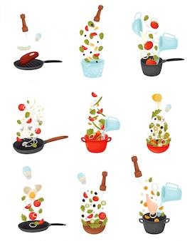Conjunto de ilustrações do processo de cozinhar salada, sopa, assar carne e peixe.