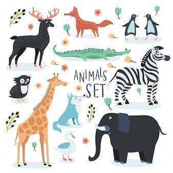 Conjunto de ilustrações dos desenhos animados de animais fofos engraçados na cor vintage