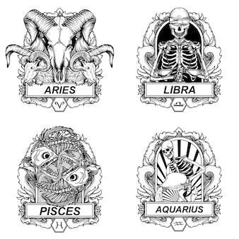 Conjunto de ilustrações e camisetas design preto e branco conjunto de zodíaco de caveira handdrawn