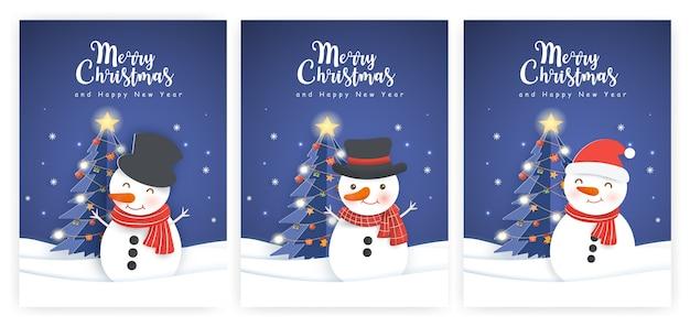 Conjunto de ilustrações e cartões de ano novo com um boneco de neve bonito.