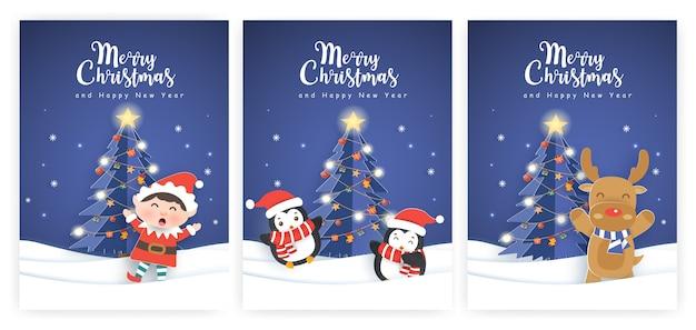 Conjunto de ilustrações e cartões de ano novo com um elfo, pinguins e renas.