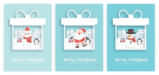 Conjunto de ilustrações e cartões de ano novo com um lindo papai noel, boneco de neve na aldeia de neve.