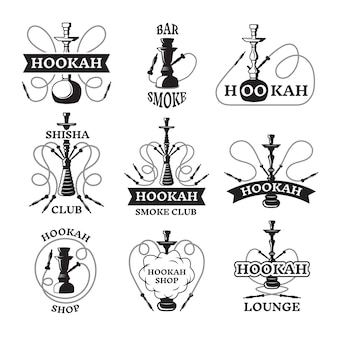 Conjunto de ilustrações e etiquetas de narguilé diferente.