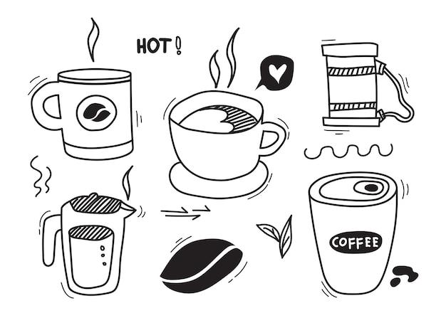 Conjunto de ilustrações e rabiscos desenhados à mão em xícaras de café