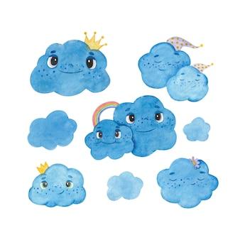 Conjunto de ilustrações em aquarela com nuvens de desenho animado