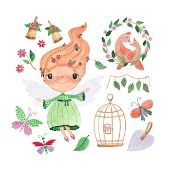 Conjunto de ilustrações em aquarela com uma fada, flores, borboletas e pássaros