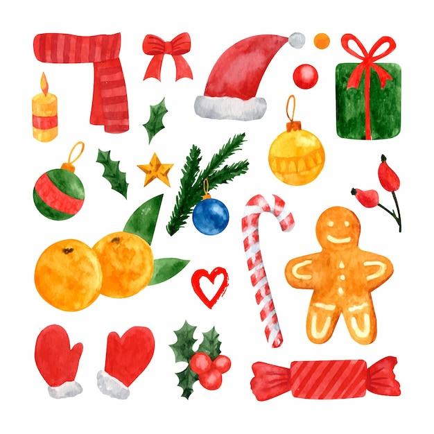 Conjunto de ilustrações em aquarela de ano novo e natal com bagas de azevinho, presentes, árvore de natal