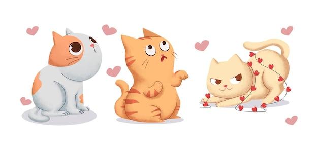 Conjunto de ilustrações em aquarela de gato no tema do dia dos namorados