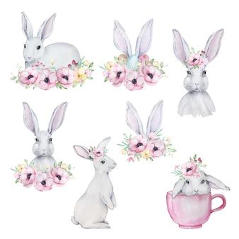Conjunto de ilustrações em aquarela de lindos coelhinhos da páscoa cinzentos e brancos com um buquê de anêmonas