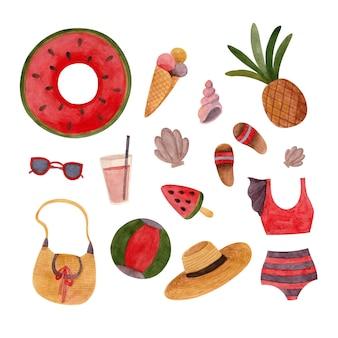 Conjunto de ilustrações em aquarela de verão com acessórios de praia