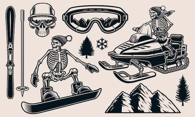 Conjunto de ilustrações em preto e branco para o tema do esporte de inverno